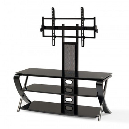 Best View Mounts Wood Home Theater Stand with Tilting TV Mount 37-in to 55-in - Black