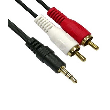 Power Pro Audio Dual RCA Male to 3.5-mm Male Cable with Gold Plated Plugs - 1.8-meter (6-ft) - Black