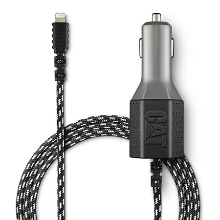 CAT 1.8-meter (6-ft) Certified Apple Lightening Vehicle Charger with Dual USB 4.8-amp - Black