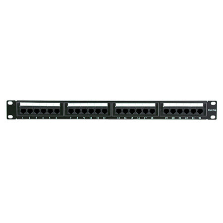 HomeWorx 24 Port Cat5e Rack Mountable Patch Panel - Black