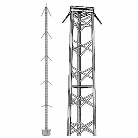 Wade Antenna 37.8-meter (124-ft) Commercial Guyed Tower