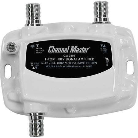 Channel Master Ultra Mini 1-Way 15-dB 50-1000-MHz Distribution Amplifier - Whit