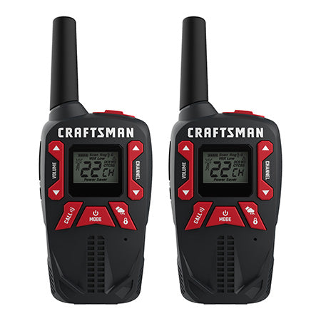 Craftsman 40-km (25-mile) GMRS/FRS Rechargeable Two-Way Radio - 2 Pack - Black