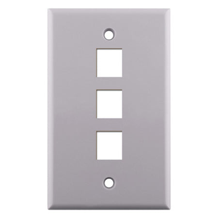 Construct Pro Single Gang 3 -port Keystone Insert Wall Plate - White