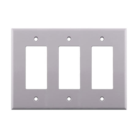 Construct Pro Triple Gang Decora Cover Wall Plate - White