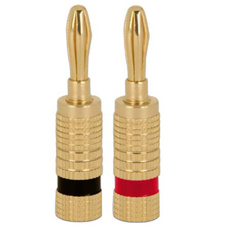Construct Pro Closed Screw Type Banana Plugs for Speaker Cables - Pair - Red,Black