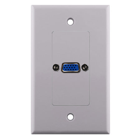 Construct Pro Single Gang VGA Wall Plate - White