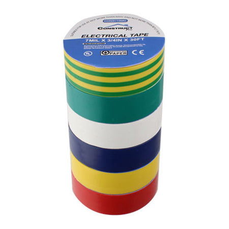 Construct Pro UL-Listed 19-mm (3/4-in) x 9.1-meter (30-ft) Multi-colour Electrical Tape - 6-pack