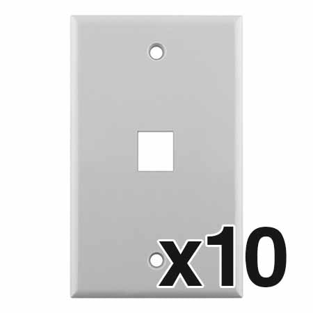 Construct Pro 1-Port Keystone Wall Plate - 10-pack - White