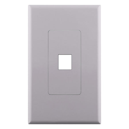 Construct Pro 1-Port Keystone Insert Decora Style Single Gang Wall Plate with Screwless Face - White