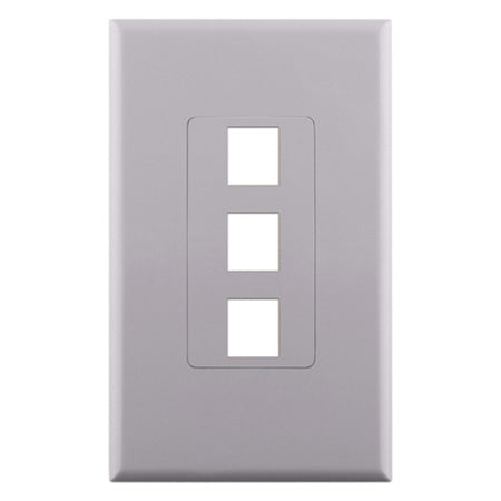 Construct Pro 3-Port Keystone Insert Decora Style Single Gang Wall Plate with Screwless Face - White