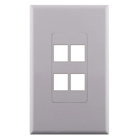Construct Pro 4-Port Keystone Insert Decora Style Single Gang Wall Plate with Screwless Face - White