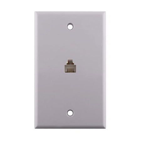 Construct Pro Single Gang 1 x Phone Jack Wall Plate - White