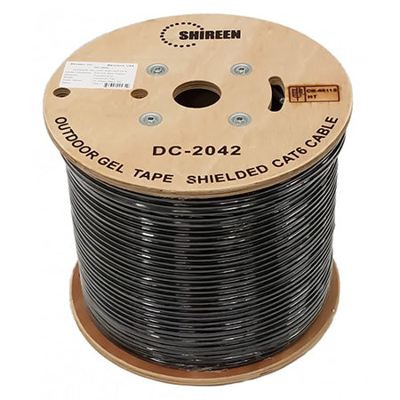 Shireen Shielded Outdoor Dry Gel Cat6 8-Conductor 4-Pair 23-gauge Solid Bare Copper - 1000-ft Spool - Black
