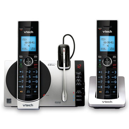 Vtech Connect to Cell DECT 6.0 2-Handset Cordless Phone with Bluetooth and Caller ID - Silver