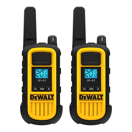 DeWalt 300,000 Sq. Ft. FRS/GMRS Heavy Duty 2 Watt Two-Way Radio Set - Two Pack - Black