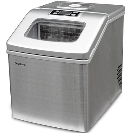 "Frigidaire Portable Countertop Compact ""Square Shaped"" 40-lb Ice Maker with Window - Stainless Steel"