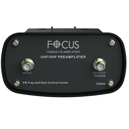 Hamza Focus Antennas Adjustable Gain UHF/VHF/FM Pre-Amplifier with Built-in LTE Filter - Black