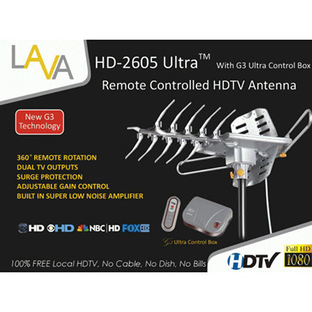 Lava Ultra Remote-Controlled HDTV 200-km (125-mile) OTA Antenna