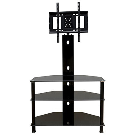 Prime Mounts 3 Tier TV Stand with Fixed TV Mount up to 65-in - Black