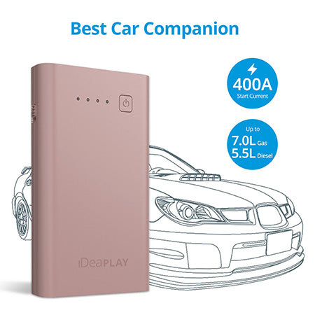 iDeaPLAY J8 8,000-mAh Powerful, Portable & Compact Vehicle Jump Starter Powerbank - Rose Gold