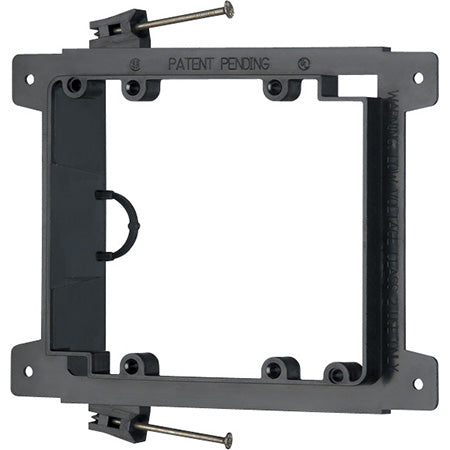 Arlington Nail-On Low Voltage Double Gang Mounting Bracket - Black