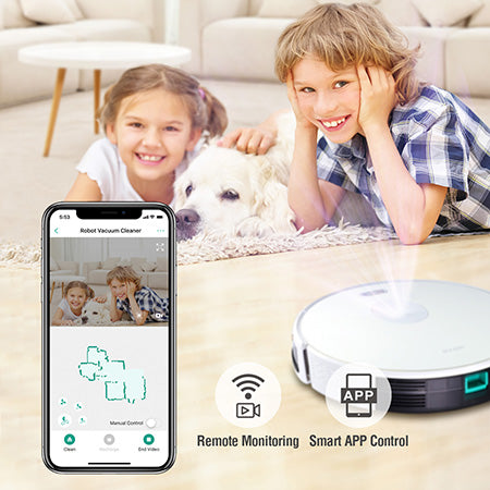 Trifo Ironpie m6 Robot Vacuum with Smart Visual Navigation, WiFi Connectivity and Remote Monitoring - White