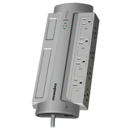 Panamax Max 8 Outlet Surge Protector with 8-ft Cord - Grey