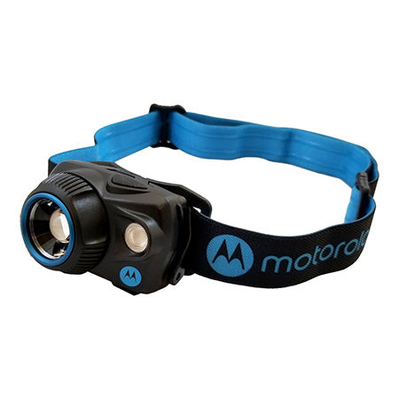 Motorola 250 Lumen Headlamp with Motion Sensing and Adjustable Spot-to-Flood Beam - Blue
