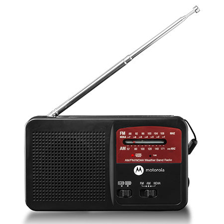 Motorola ATMOS Rechargeable AM/FM Weather Radio with Flashlight - Black