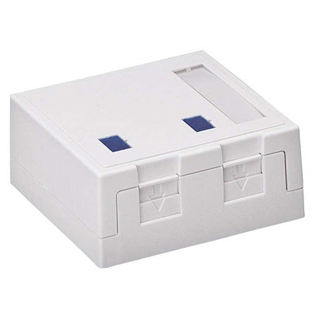 NWT 2-Port Cat3/5e/6e Keystone Surface Box - White
