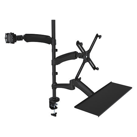 CTA Digital 2-in-1 Adjustable Monitor and Tablet Mount Stand with Keyboard Tray - Black