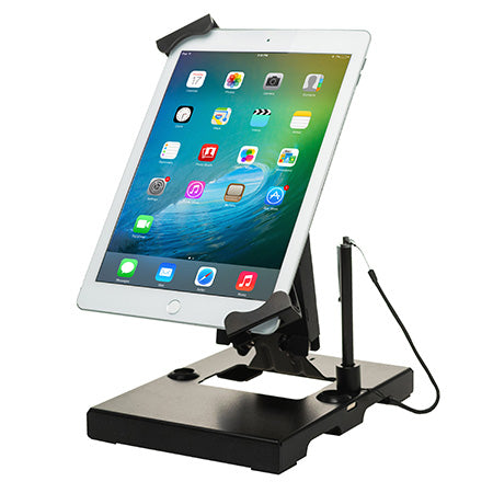 CTA Digital Flat-Folding Tabletop Security Stand for 7-in to 14-in Tablets - Black