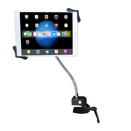 CTA Digital Heavy-Duty Gooseneck Clamp stand for 7-in to 13-in Tablets - Black - Open Box