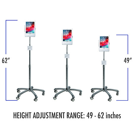 CTA Digital Heavy-Duty Security Floor Stand for iPad Generation 5-6, iPad Pro 9.7-in and iPad Air - Silver