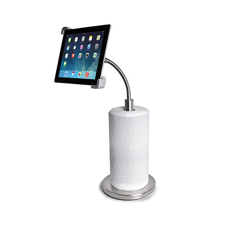 CTA Digital Paper Towel Holder with Gooseneck Stand for iPad & Tablets - Silver