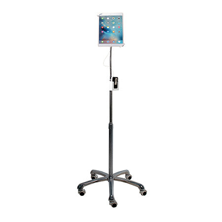 CTA Digital Heavy-Duty Security Gooseneck Floor Stand for 7-in to 13-in Tablets - Black