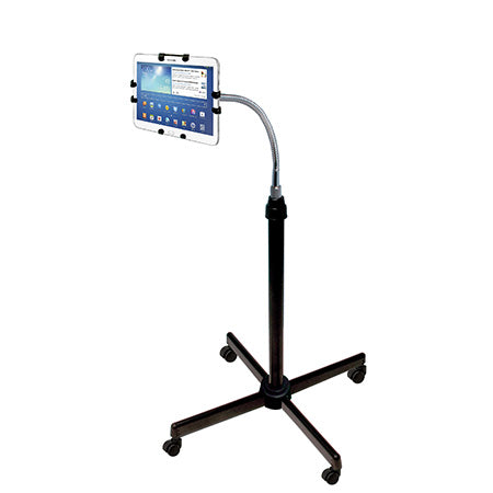 CTA Digital Height-Adjustable Gooseneck Stand with Casters for iPad & Other 9.7-in to 10.1-in Tablets - Black
