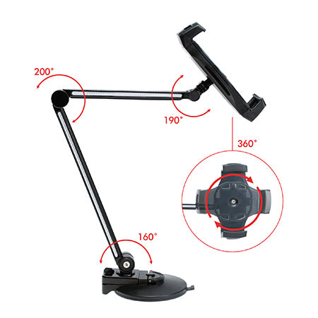 CTA Digital Ultra-Light Arm Mount with Clamp and Suction Bases for Tablets and Smartphones - Black