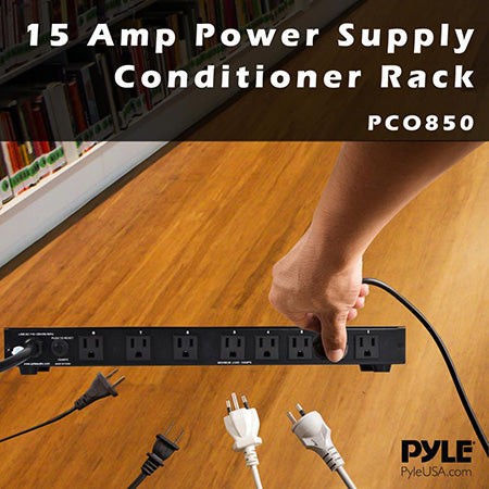 PylePro 48.2-cm (19-in) 8 Outlet Rack Mountable Power Strip Surge Protector - Black