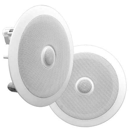 Pyle Pro PDIC80 6.5-in 250-watt 2-Way In-Ceiling Speaker System - Pair - White