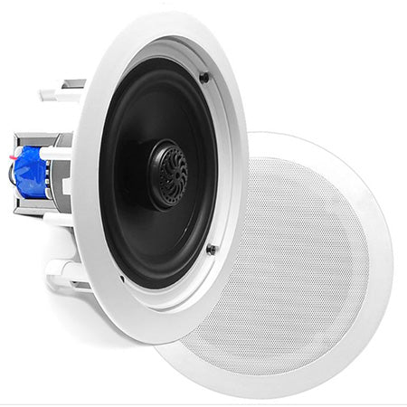 Pyle 20.3-cm (8-in) 2-Way In-Ceiling Flush Mount Speaker System with Transformer - Pair - White