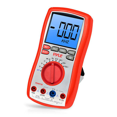 Pyle Digital LCD Multimeter with Rubber Case - Red