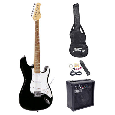 Pyle Beginners Electric Guitar Kit with Amplifier - Black