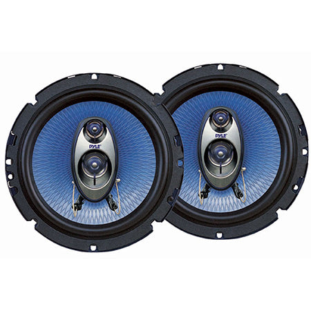 Pyle 6.5-in 360-watts Three-Way Automotive Speakers - Pair - Blue
