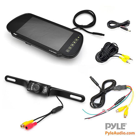 Pyle License Plate Mounted Night Vision Rear View Backup Camera with 7-in LCD Monitor - Black
