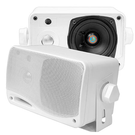 Pyle 8.9-cm (3.5-in) 3-Way 200-watt Weatherproof Mini Box Speaker System - Pair - White