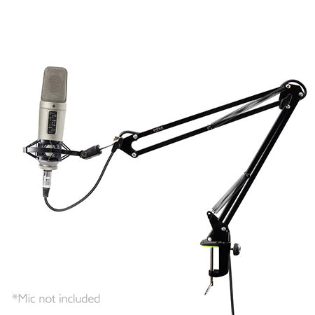 Pyle Suspension Boom Scissor Microphone Stand with Shock Mount Holder - Black