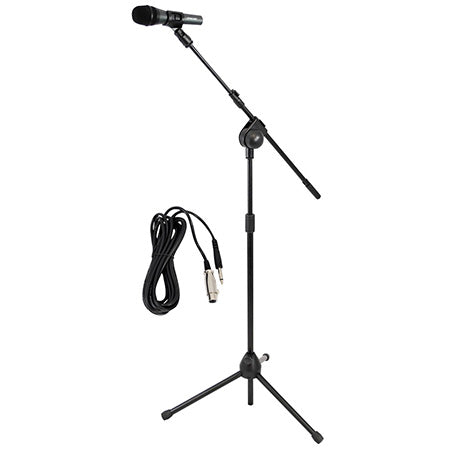 Pyle Dynamic Microphone and Height Adjustable Tripod Stand with Extending Boom