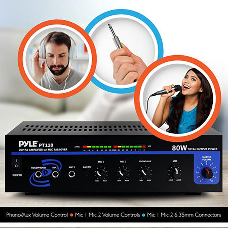 Pyle 80-watt AC/DC Microphone PA Mono Amplifier with 70-volt Output and Mic Talkover